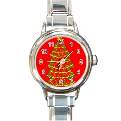 Sparkling Christmas Tree   Red Round Italian Charm Watch by Valentinaart