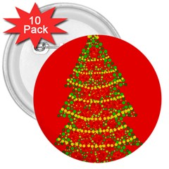 Sparkling Christmas Tree   Red 3  Buttons (10 Pack)  by Valentinaart