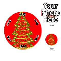 Sparkling Christmas Tree   Red Playing Cards 54 (round)  by Valentinaart