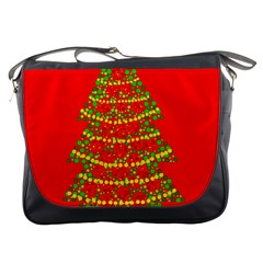 Sparkling Christmas Tree   Red Messenger Bags by Valentinaart