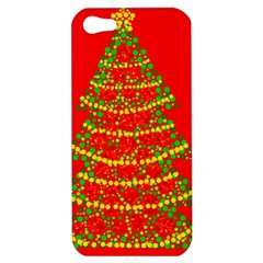 Sparkling Christmas Tree   Red Apple Iphone 5 Hardshell Case by Valentinaart
