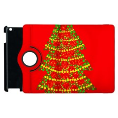 Sparkling Christmas Tree   Red Apple Ipad 3/4 Flip 360 Case
