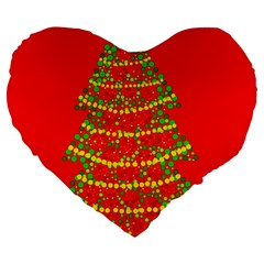 Sparkling Christmas Tree   Red Large 19  Premium Flano Heart Shape Cushions