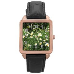 Wild Daisy Summer Flowers Rose Gold Leather Watch  by picsaspassion
