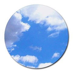 Summer Clouds And Blue Sky Round Mousepads