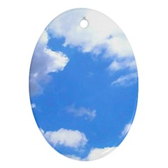 Summer Clouds And Blue Sky Oval Ornament (two Sides)