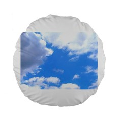 Summer Clouds And Blue Sky Standard 15  Premium Flano Round Cushions