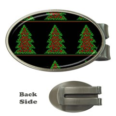 Christmas Trees Pattern Money Clips (oval)  by Valentinaart