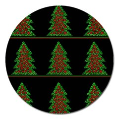 Christmas Trees Pattern Magnet 5  (round) by Valentinaart