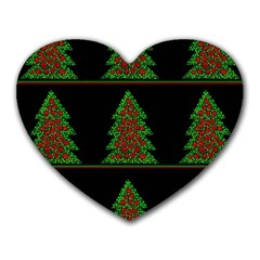 Christmas Trees Pattern Heart Mousepads by Valentinaart