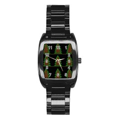 Christmas Trees Pattern Stainless Steel Barrel Watch by Valentinaart