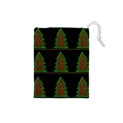Christmas Trees Pattern Drawstring Pouches (small)  by Valentinaart