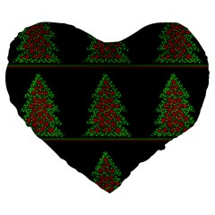 Christmas Trees Pattern Large 19  Premium Flano Heart Shape Cushions by Valentinaart