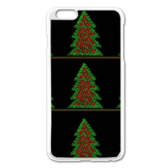 Christmas Trees Pattern Apple Iphone 6 Plus/6s Plus Enamel White Case by Valentinaart