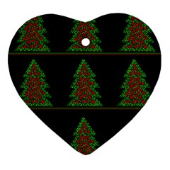 Christmas Trees Pattern Ornament (heart)  by Valentinaart