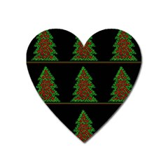 Christmas Trees Pattern Heart Magnet by Valentinaart