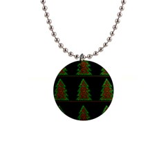 Christmas Trees Pattern Button Necklaces