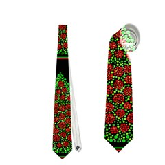 Christmas Trees Pattern Neckties (two Side)  by Valentinaart