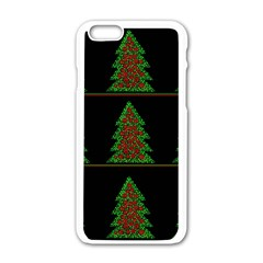 Christmas Trees Pattern Apple Iphone 6/6s White Enamel Case by Valentinaart