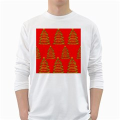 Christmas Trees Red Pattern White Long Sleeve T-shirts