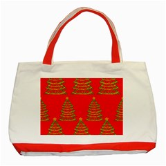 Christmas Trees Red Pattern Classic Tote Bag (red) by Valentinaart