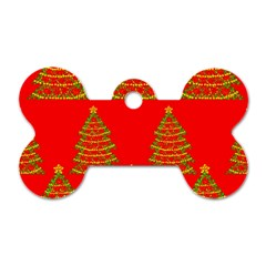 Christmas Trees Red Pattern Dog Tag Bone (two Sides) by Valentinaart