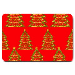 Christmas Trees Red Pattern Large Doormat  by Valentinaart