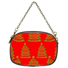 Christmas Trees Red Pattern Chain Purses (two Sides)  by Valentinaart