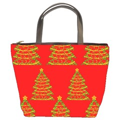 Christmas Trees Red Pattern Bucket Bags by Valentinaart