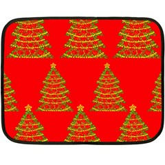 Christmas Trees Red Pattern Fleece Blanket (mini)