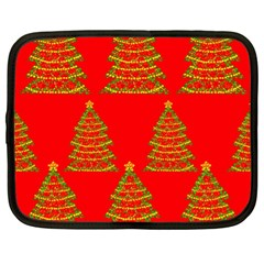 Christmas Trees Red Pattern Netbook Case (xl)  by Valentinaart
