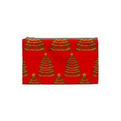 Christmas Trees Red Pattern Cosmetic Bag (small)  by Valentinaart