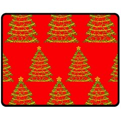 Christmas Trees Red Pattern Fleece Blanket (medium)  by Valentinaart