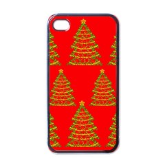 Christmas Trees Red Pattern Apple Iphone 4 Case (black)
