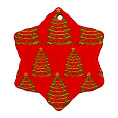Christmas Trees Red Pattern Snowflake Ornament (2 Side) by Valentinaart