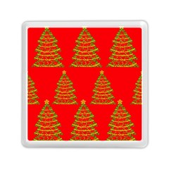 Christmas Trees Red Pattern Memory Card Reader (square)  by Valentinaart