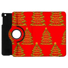 Christmas Trees Red Pattern Apple Ipad Mini Flip 360 Case by Valentinaart
