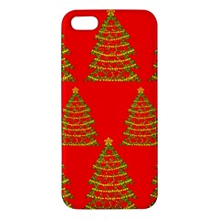 Christmas Trees Red Pattern Apple Iphone 5 Premium Hardshell Case by Valentinaart