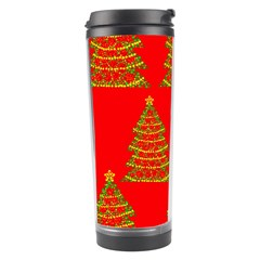 Christmas Trees Red Pattern Travel Tumbler by Valentinaart