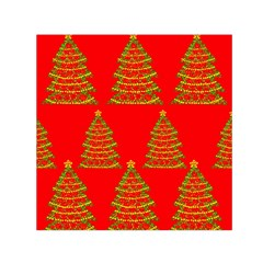 Christmas Trees Red Pattern Small Satin Scarf (square)
