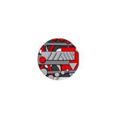 Gray And Red Geometrical Design 1  Mini Buttons by Valentinaart