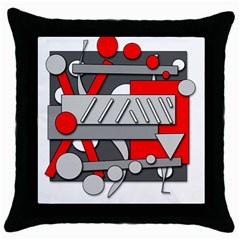 Gray And Red Geometrical Design Throw Pillow Case (black) by Valentinaart