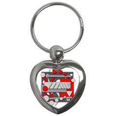 Gray And Red Geometrical Design Key Chains (heart)  by Valentinaart