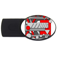 Gray And Red Geometrical Design Usb Flash Drive Oval (2 Gb)