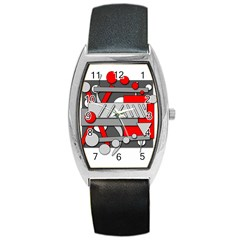 Gray And Red Geometrical Design Barrel Style Metal Watch by Valentinaart