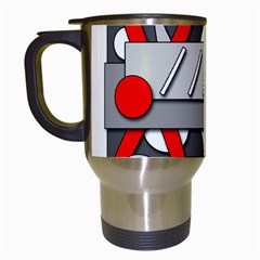 Gray And Red Geometrical Design Travel Mugs (white) by Valentinaart