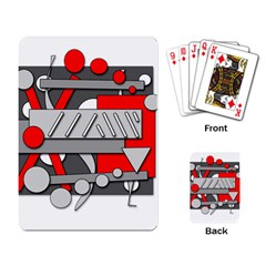 Gray And Red Geometrical Design Playing Card by Valentinaart