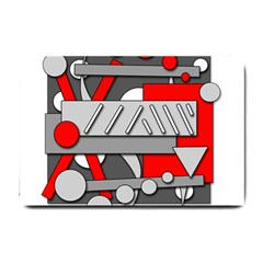 Gray And Red Geometrical Design Small Doormat  by Valentinaart