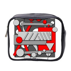 Gray And Red Geometrical Design Mini Toiletries Bag 2 Side by Valentinaart