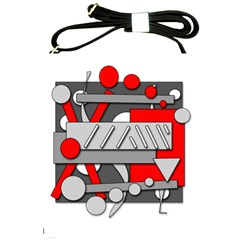Gray And Red Geometrical Design Shoulder Sling Bags by Valentinaart